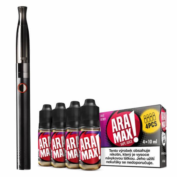 Elektronická cigareta Aramax Vaping Pen, 900mAh, černá + 4pack aramax