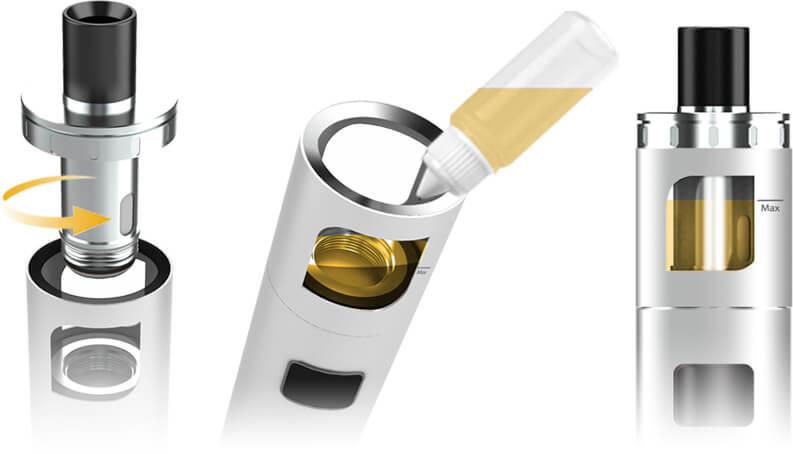 Plnění e-liquidem elektronické cigarety aSpire PockeX AIO