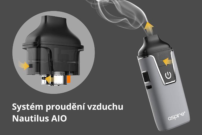 Nastavení přívodu vzduchu aSpire Nautilus AIO