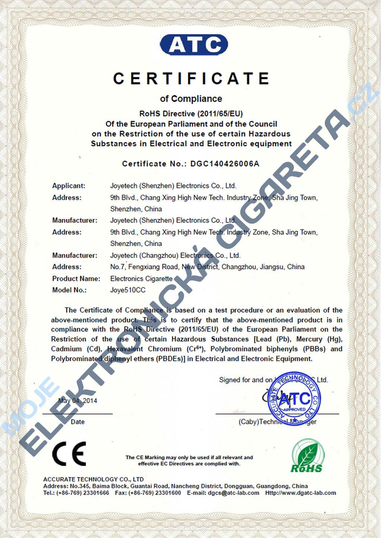 Certifikát Joyetech 510cc 3