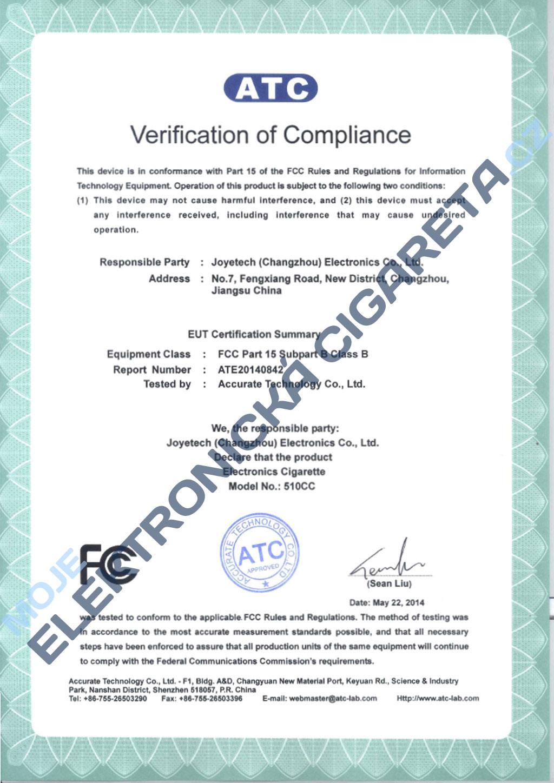 Certifikát Joyetech 510cc 2