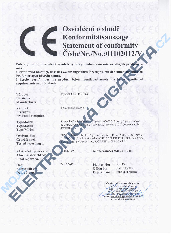 Certifikát Joyetech eGo-c, ego-t, 510