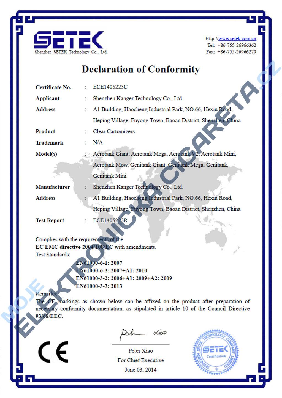Certifikát clearomizérů Kangertech 1