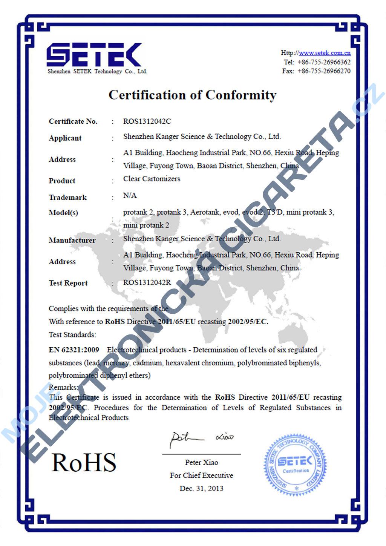Certifikát clearomizérů Kangertech 2