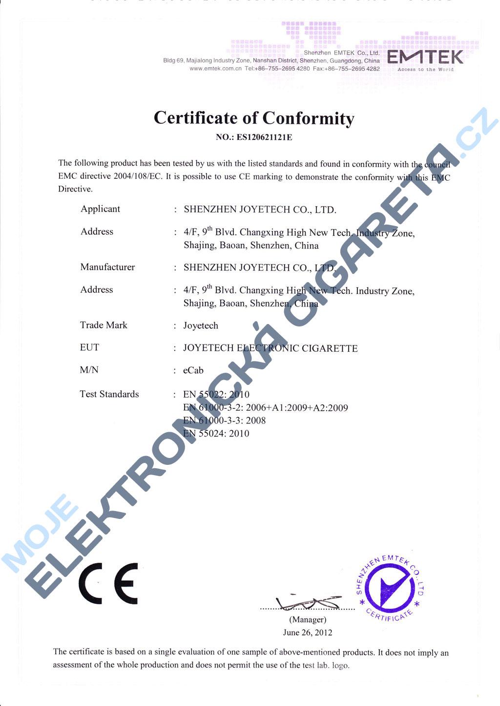 Certifikát Joyetech eCab