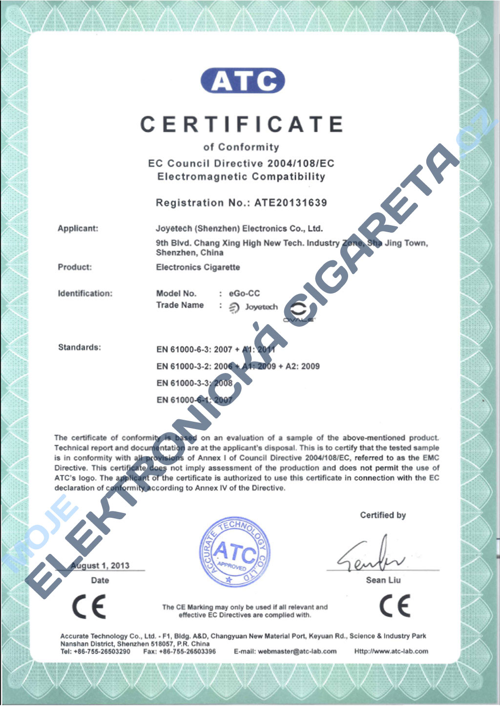 Certifikát Joyetech eGo-CC 1