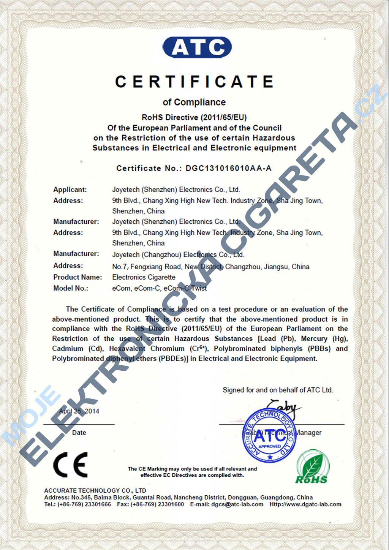 Certifikát Joyetech ecom-c 1