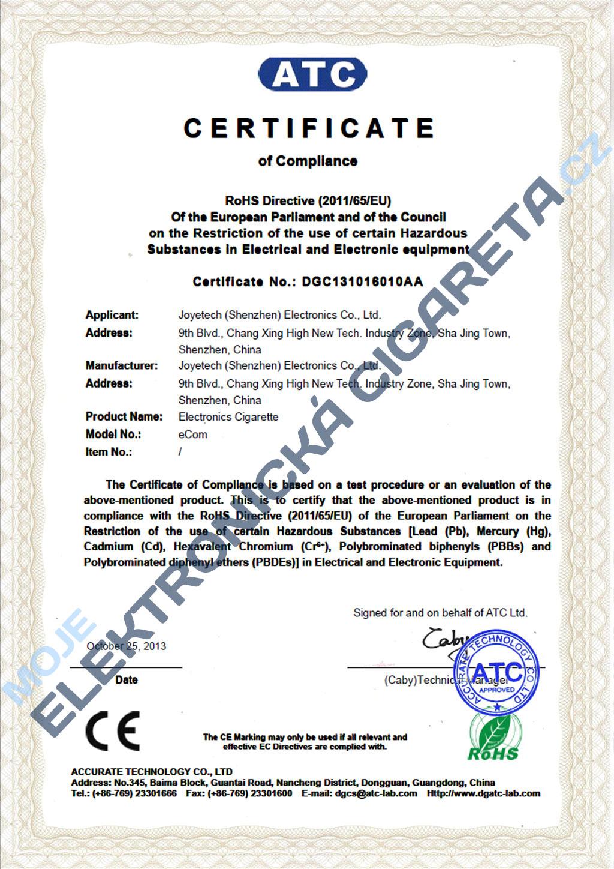 Certifikát Joyetech ecom 1