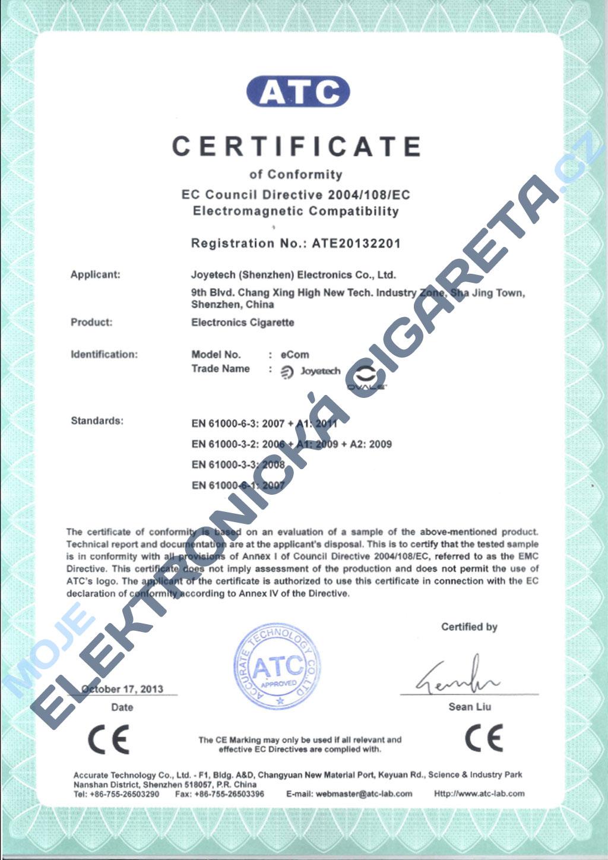Certifikát Joyetech ecom 2