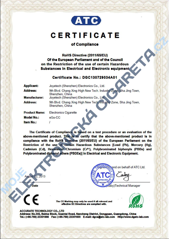 Certifikát Joyetech eGo-CC 3