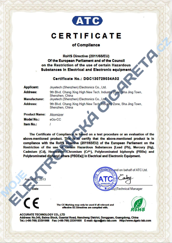 Certifikát Joyetech eGo-CC 2
