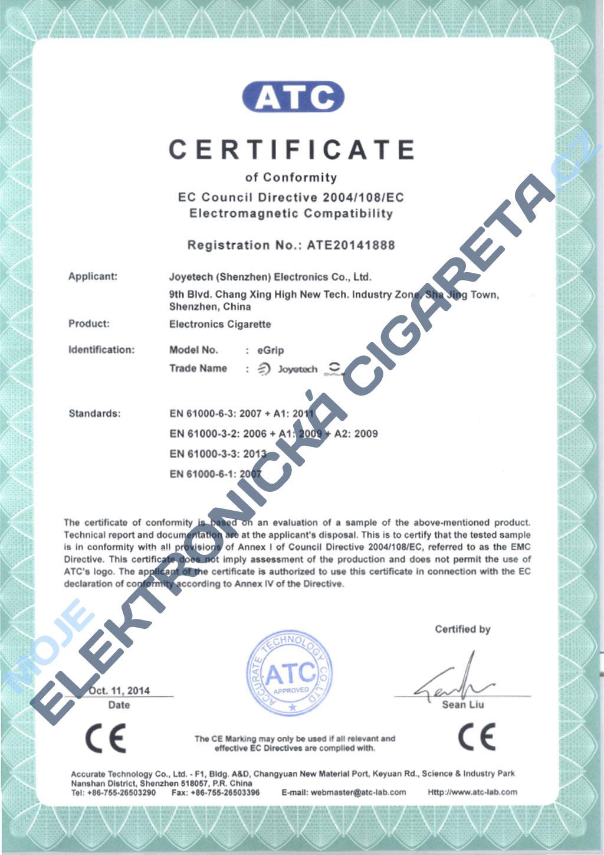 Certifikát Joyetech eGrip 1