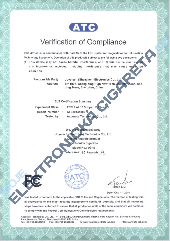 Certifikát Joyetech eGrip 2