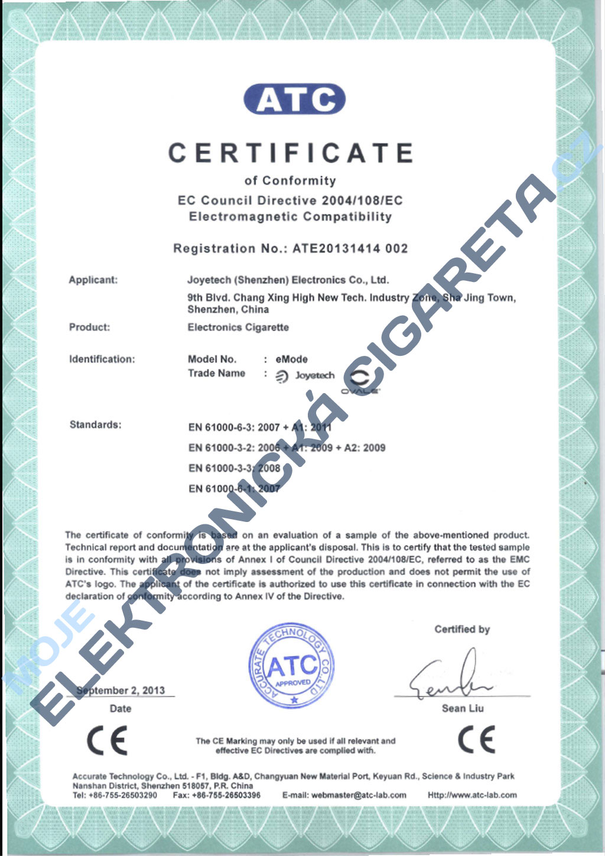 Certifikát Joyetech emode 1