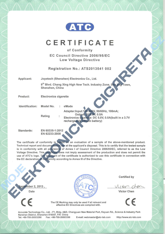 Certifikát Joyetech emode 3