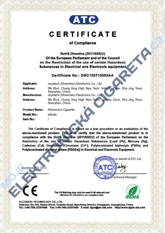 Certifikát Joyetech emode 2