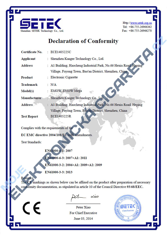 Certifikát Kangertech emow 1