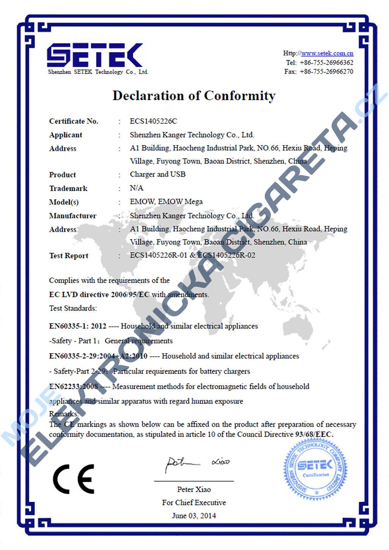 Certifikát Kangertech emow 3
