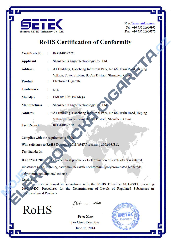 Certifikát Kangertech emow 2