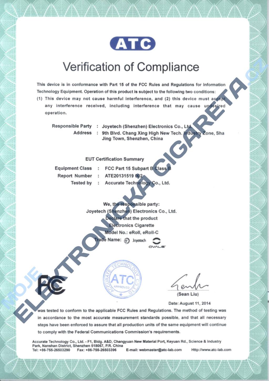 Certifikát Joyetech eroll-c 1
