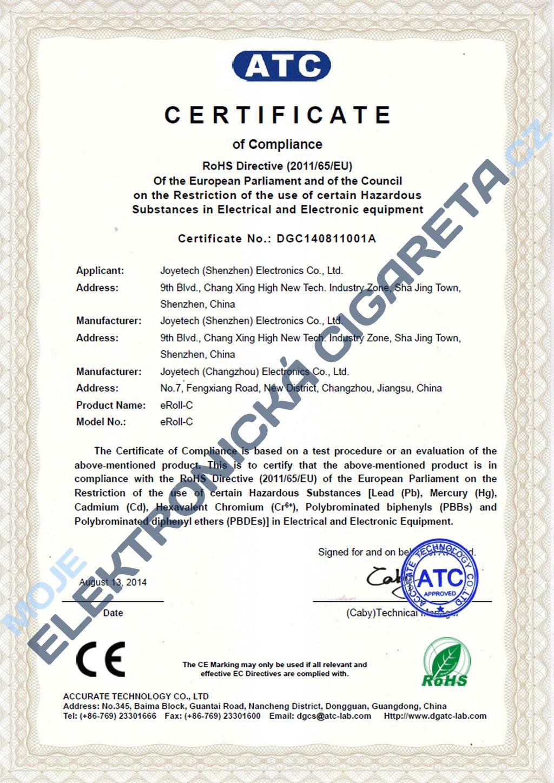 Certifikát Joyetech eroll-c 3