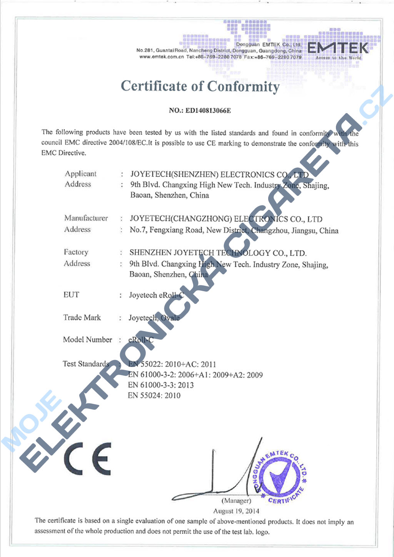 Certifikát Joyetech eroll-c 4