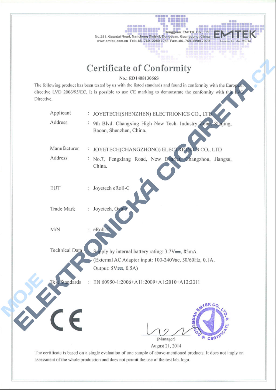 Certifikát Joyetech eroll-c 2