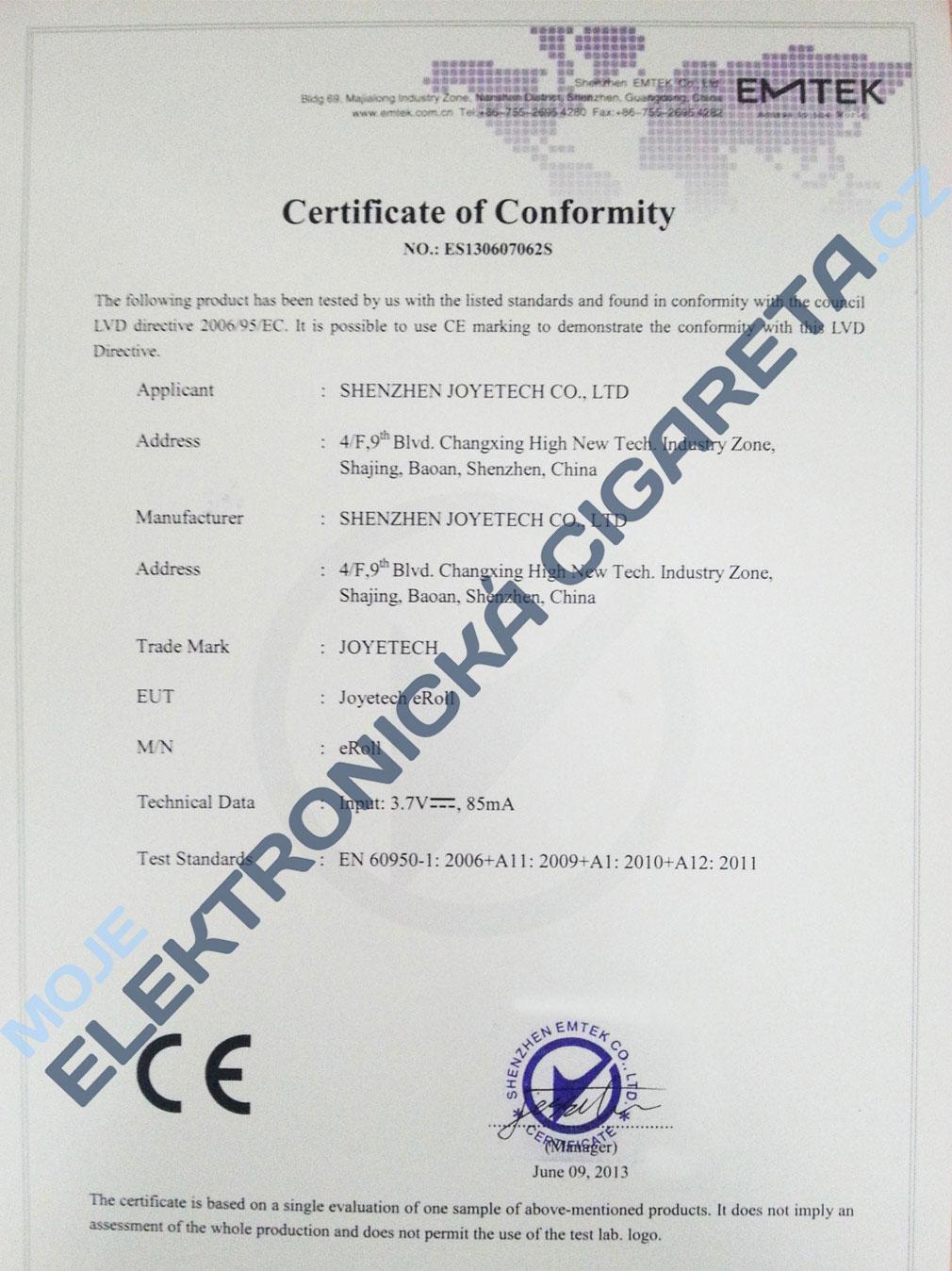 Certifikát Joyetech eroll 1