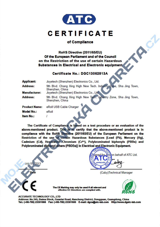 Certifikát Joyetech eroll 3