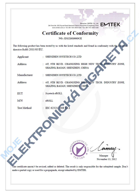 Certifikát Joyetech eroll 2