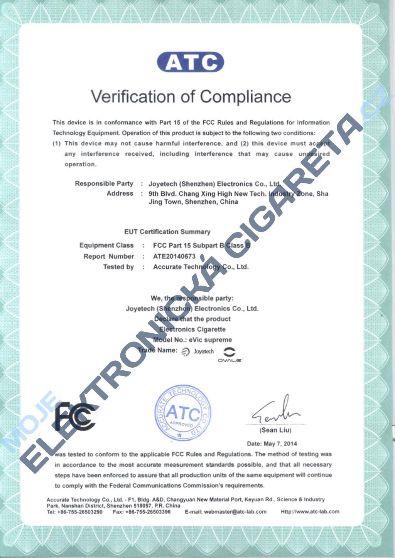 Certifikát Joyetech evic supreme 1