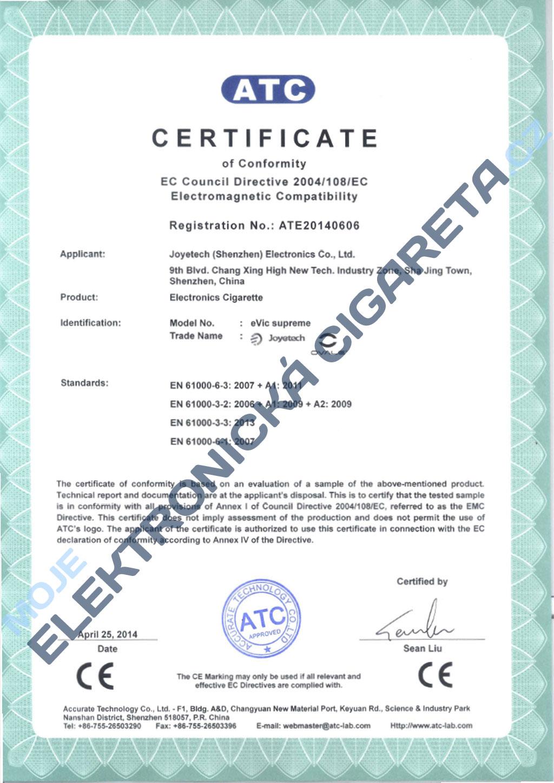 Certifikát Joyetech evic supreme 2
