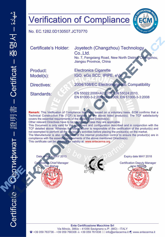 Certifikát Joyetech eVic