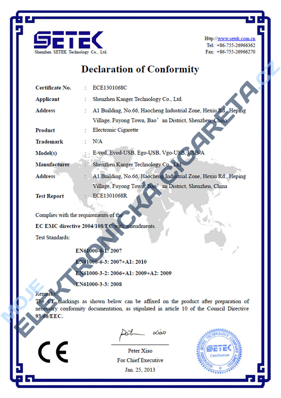 Certifikát Kangertech evod 1
