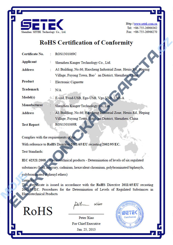 Certifikát Kangertech eVod 2