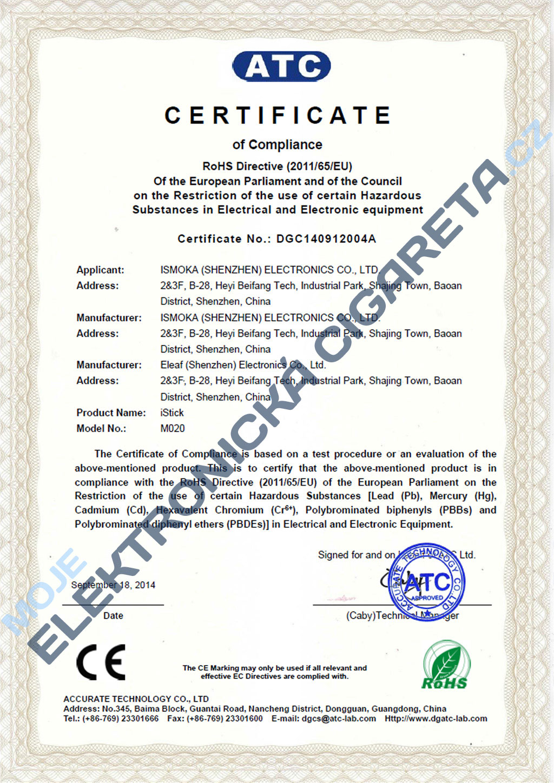 Certifikát elektronické cigareta iSmoka-Eleaf