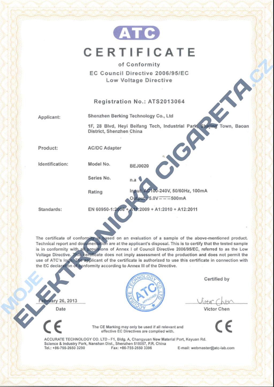 Certifikát Joyetech 1