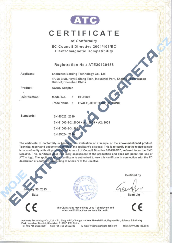 Certifikát Joyetech 4