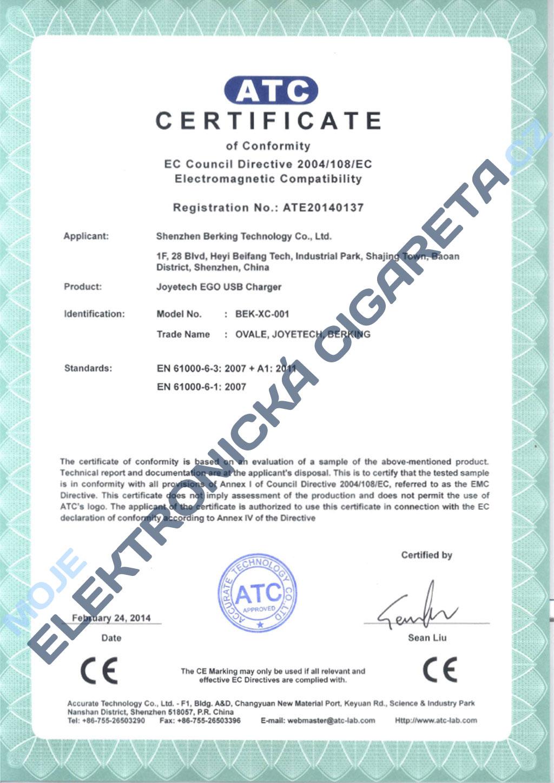 Certifikát Joyetech 2