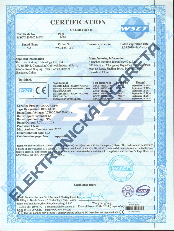 Certifikát Joyetech 3