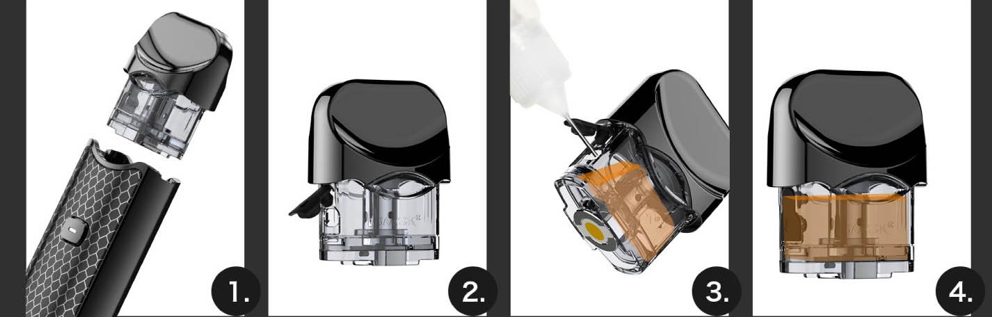 Postup plnění e-liquidu elektronická cigareta Smoktech NORD