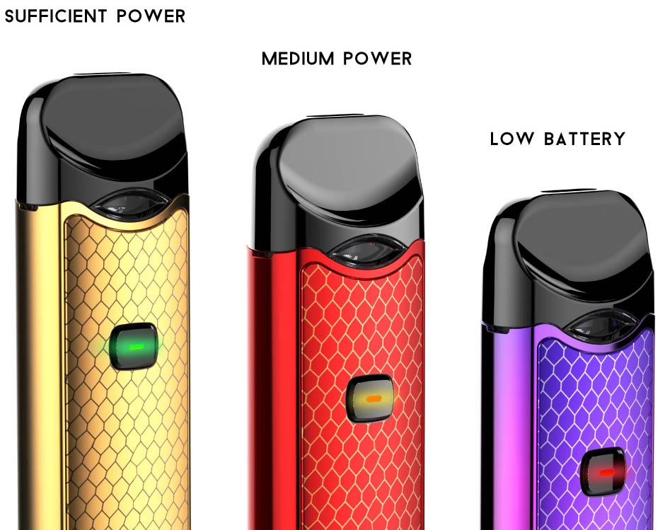 Indikátor stavu baterie u elektronická cigareta Smoktech NORD