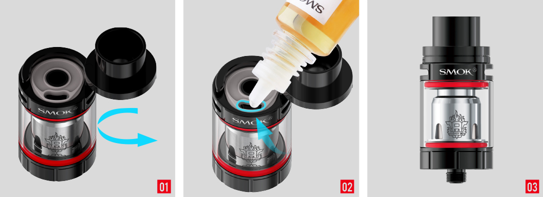 Postup plnění e-liquidu elektronická cigareta Smoktech Stick X8