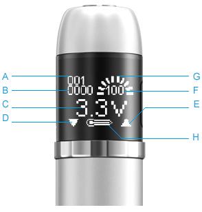 elektronická cigareta eVic, kontrolní hlava