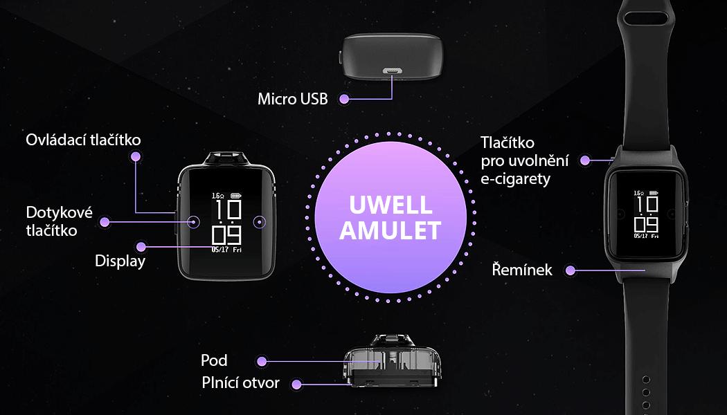 Konstrukce - Uwell Amulet - elektronická cigareta - hodinky